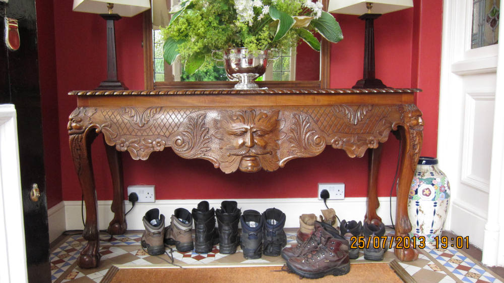 Entrance hall with boots in Ardeen House, Ramelton